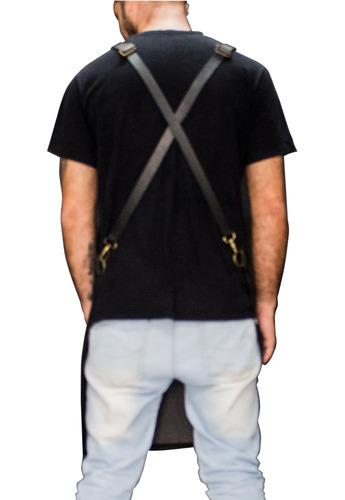 avental jeans zurique com couro legítimo