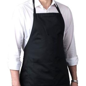 Avental Oxford Preto Branco Uniforme Chef Cozinha C/ Bolso