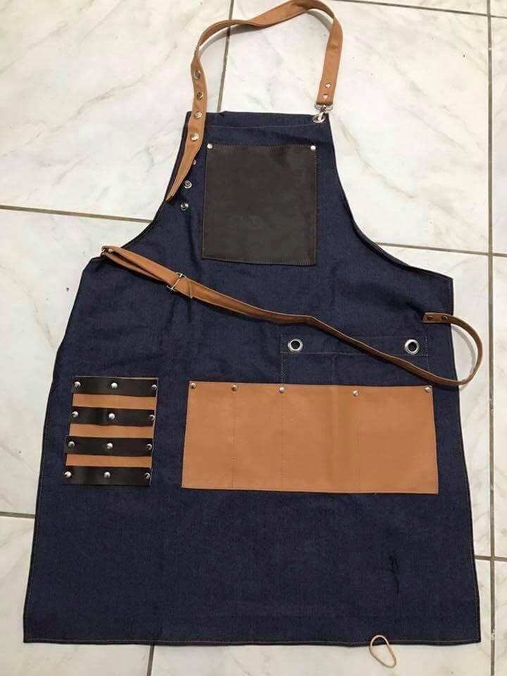 9fd70243d66e6 Avental Para Barbeiro Profissional Jeans E Couro R 129