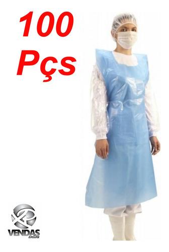 avental plástico polietileno azul 100 peças 120x0,70m esp007