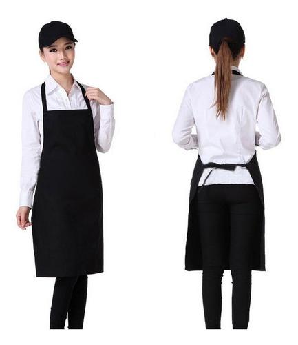 avental preto com bolso alça ajustável  a pronta entrega