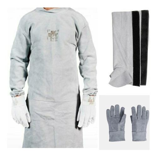 avental soldador tipo barbeiro+luva+perneira raspa ca protec