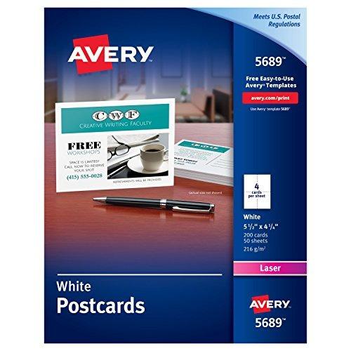 avery 05689 blanco postales para impresora láser, de 5,5 x