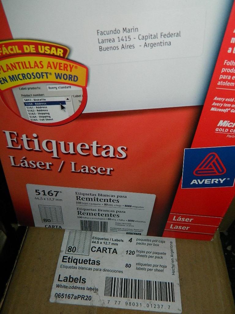 Avery Etiquetas 5167 Caja X 100 Hojas (8000 Etiquetas) - $ 1.499,99 ...