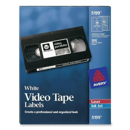 avery láser video cinta de casete etiquetas cara y la colum