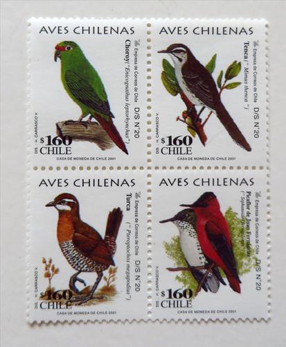 aves de chile, set de estampillas 2001. mint