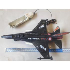 Avião Caça F-16 Brinquedo Rei Controle Remoto De Fio Antigo