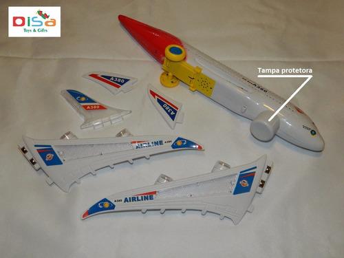 avião a380 grande 45 cm musical c/ luzes - bate-volta