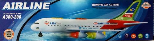 avião air liner a-380-200 brinquedo c/ luz som e movimento