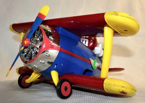 avião brinquedo bi plano m&m chocolates raro coleção antigo