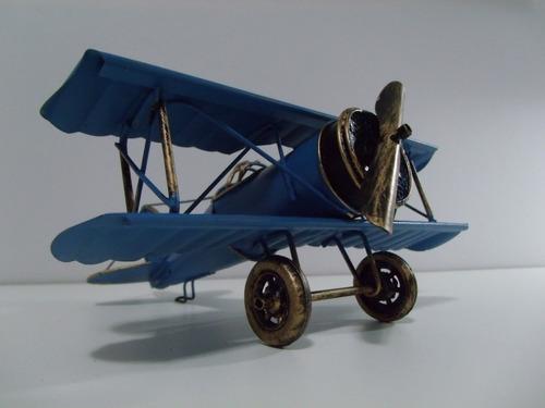 avião miniatura antigo retrô mono hélice lata ferro azul