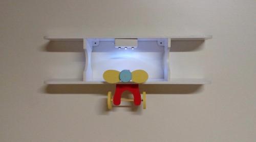 Avião Prateleira Com Luz De Led Quarto Bebe Pequeno Principe  R$ 208,00 em M