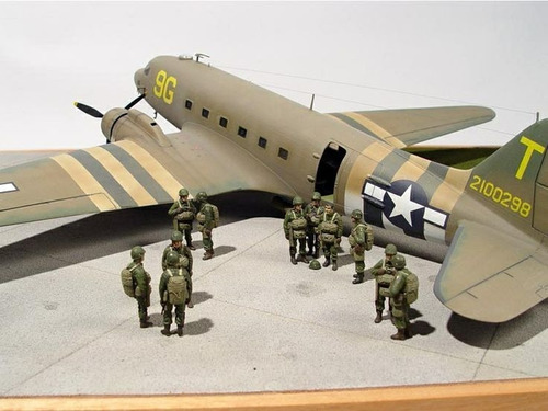 avión c-47 skytrain c/paracaidistas esc 1/48, nuevo, x armar