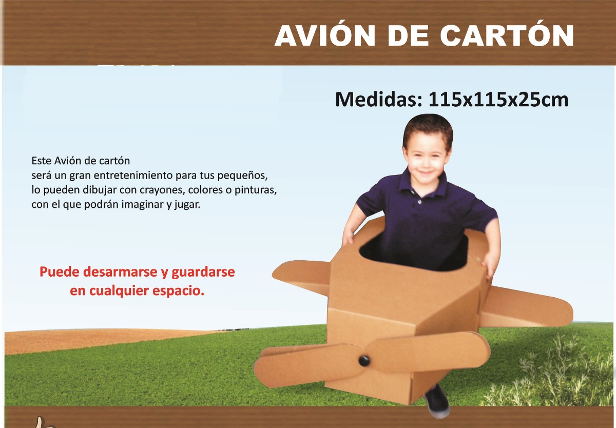 Avion de carton avionsito para ni os para pintar armable for Agarraderas para ninos