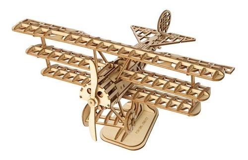 avion - modelo en madera 3d rompecabezas