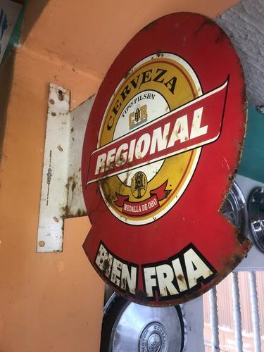 aviso antiguo metalico cerveza regional xxx