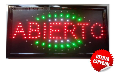 aviso de abierto - led altamente luminoso 48 x 25 cm