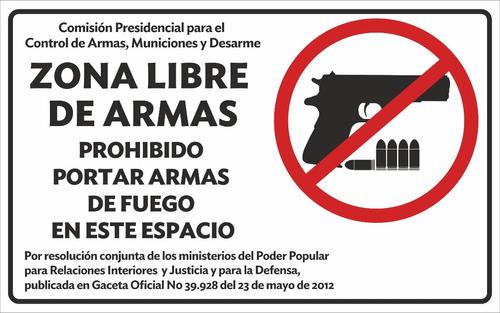 aviso zona libre de armas 30 x 47 cm