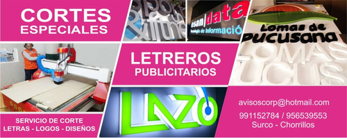 avisos luminosos, letras en acrílico, logos en mdf