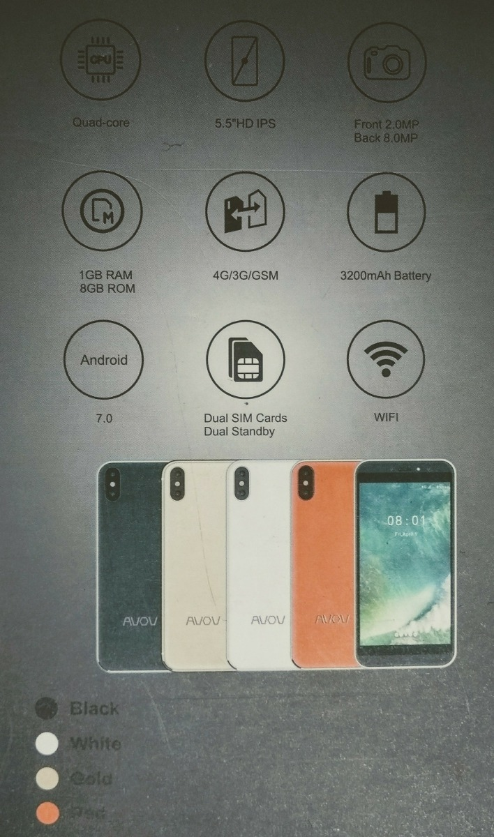 Avov Top 8 Android 7 Camara 8+2 Mpx Memoria 8+ 1gb Dual