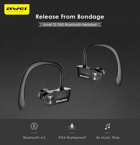 awei t2 tws sports bluetooth auriculares negros