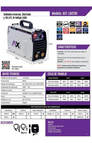 axt-p160tbv soldador inversor 160 a 110/220v ax tech