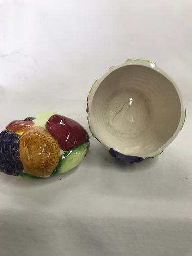 azucarera ceramica decorada frutas en relieve