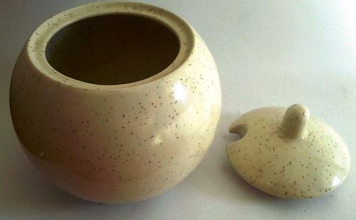 azucarera cerámica japonesa esfera beige salpicada