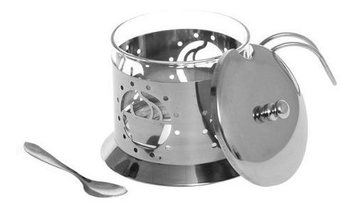 azucarera con cuchara acero inoxidable/vidrio namaro design