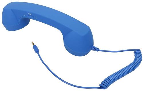 azul auricular de teléfono retro p/ receptor celular 3.5mm