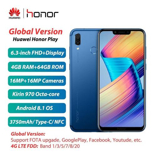 azul global huawei honor play teléfono móvil 4g/64gbversión