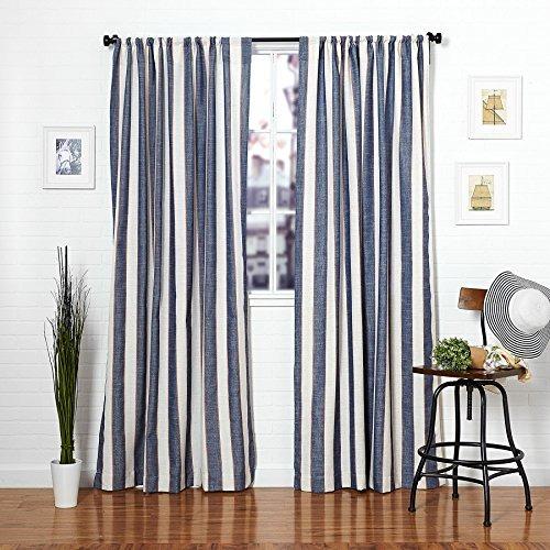 Azul marino a rayas de lino ventana blend cortina - Cortinas azul marino ...