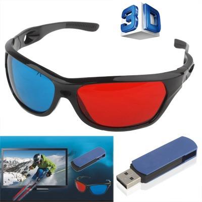 azul rojo mundial usb stick tv vision lente 3d