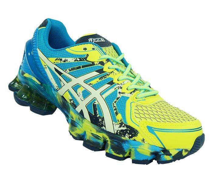 9ef200ec711 Azul Tênis Asics Gel Sendai 2 E Amarelo Limão - R  320