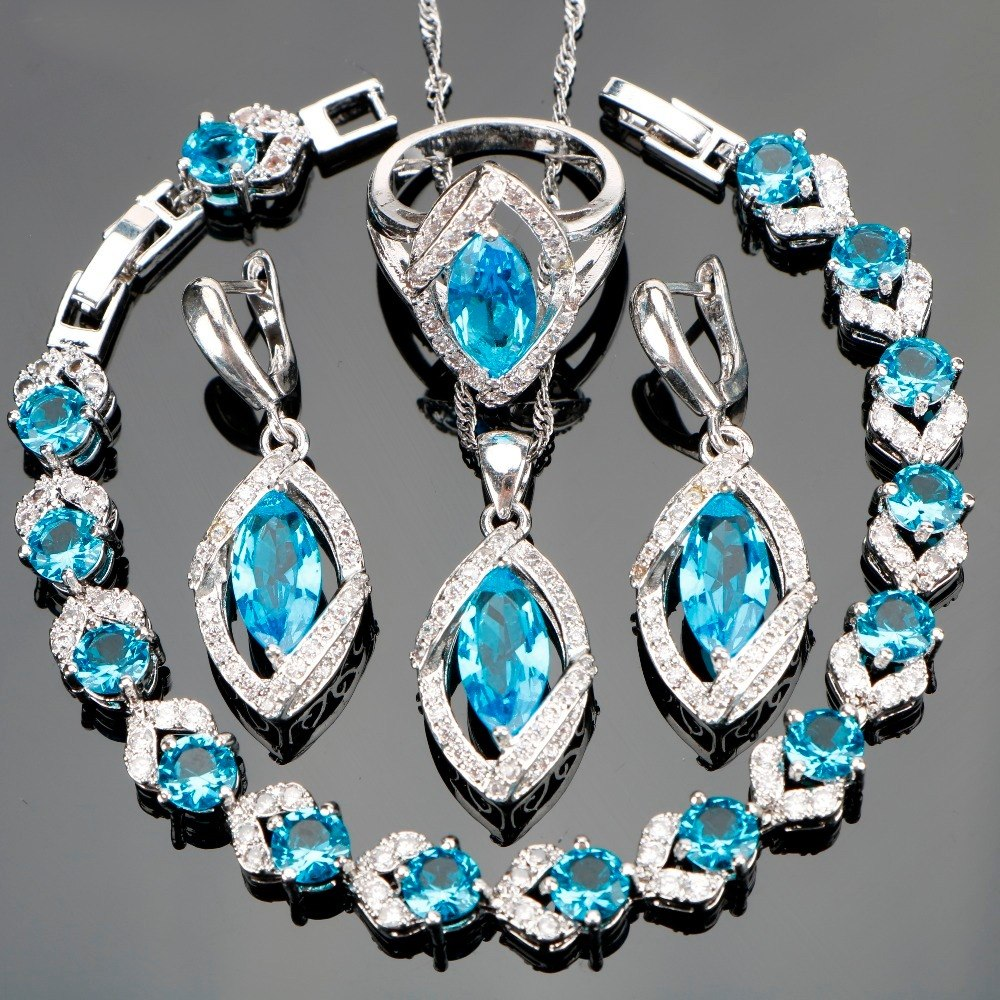 minorista online c4988 8921c Azul Turquesa Anillo Aretes Collar Joyería Bañado