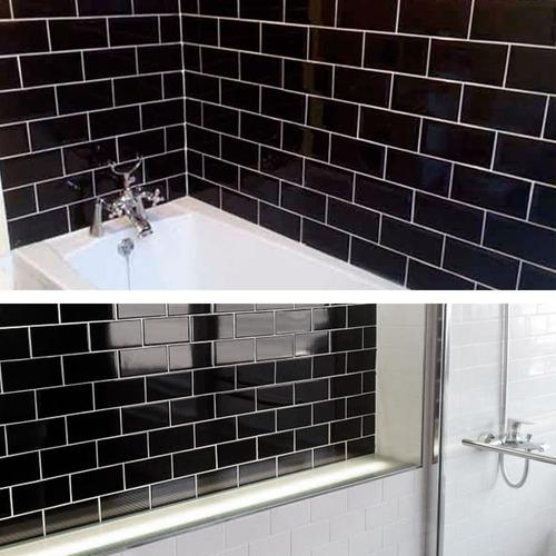azulejo acuarela ceramica negra chica pequeña baño cocina