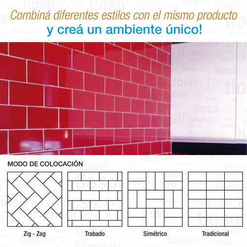 azulejo acuarela rojo brillante 7.5x15 pared sin interes
