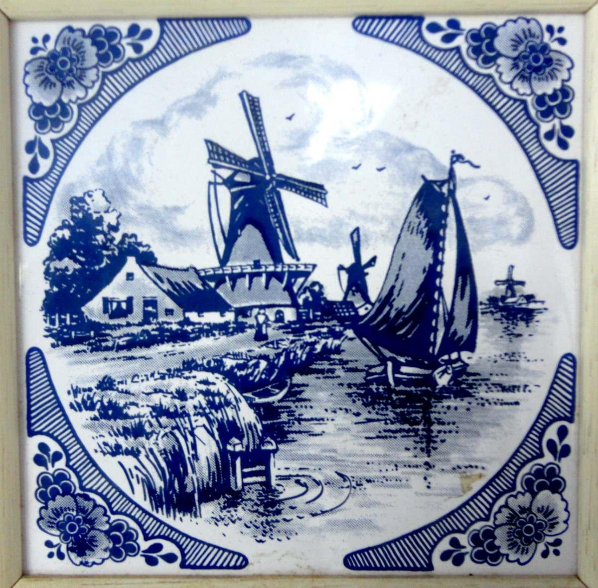 Azulejo Azul Em Porcelana Holandesa Com Moldura R$ 88 00 em Mercado  #080A3C 1200x1180 Banheiro Azulejo Azul