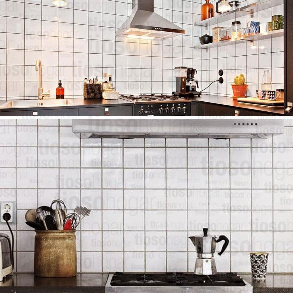 Azulejo blanco brillante 15x15 cm cocina vintage for Cocina con azulejos blancos
