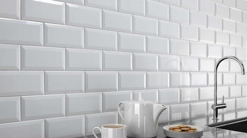 azulejo cerámico 7.5x15 cm biselado blanco subway unidad