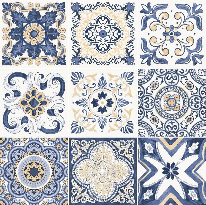 Azulejo portugu s yellow kit 52 5x52 5 9 desenhos digitais r 194 38 em mercado livre - Azulejos portugueses comprar ...