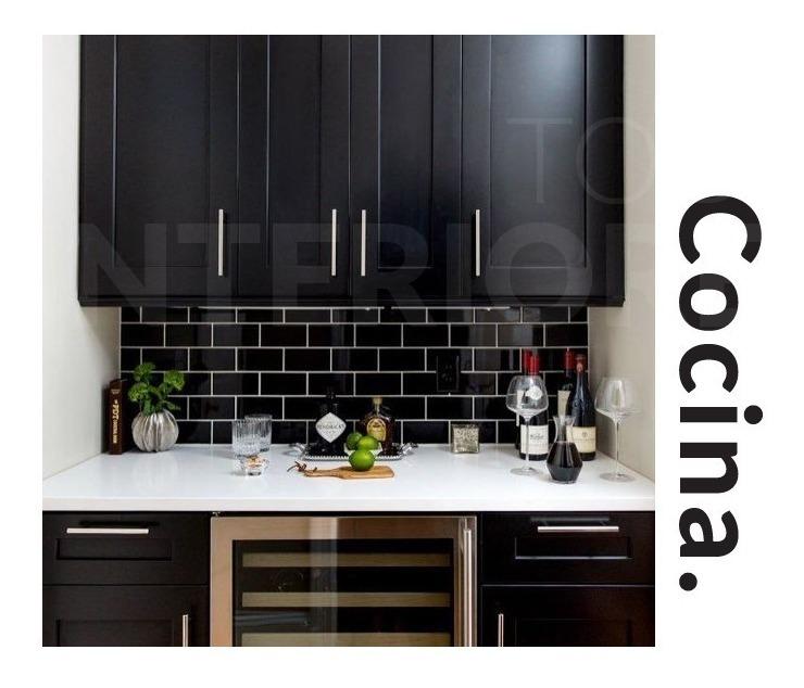 Azulejo Subway Negro Cocina Bar 7 5x15cm Por Unidad 22 00 En