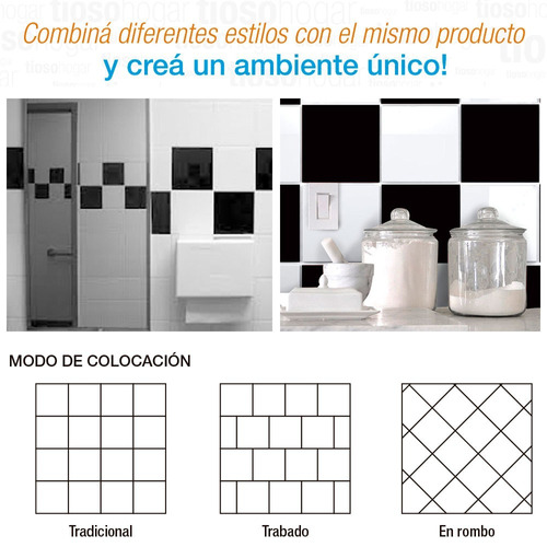 azulejos acuarela 15x15 color blanco brillante negro damero