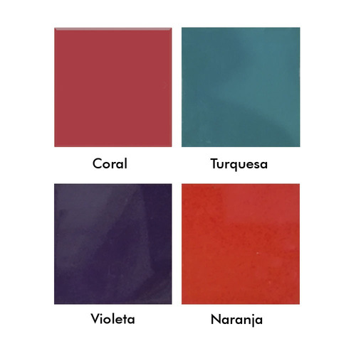 azulejos acuarela 15x15 color violeta naranja turquesa coral