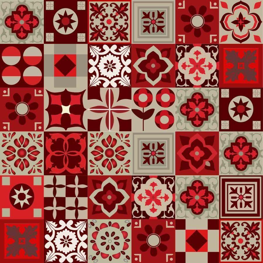 Azulejos adesivo decorativos vermelho r 70 00 em for Azulejos para paredes