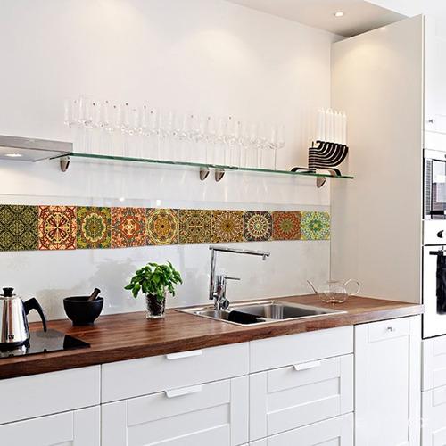 azulejos adhesivos cocina baño mosaico diseño arabe lavable