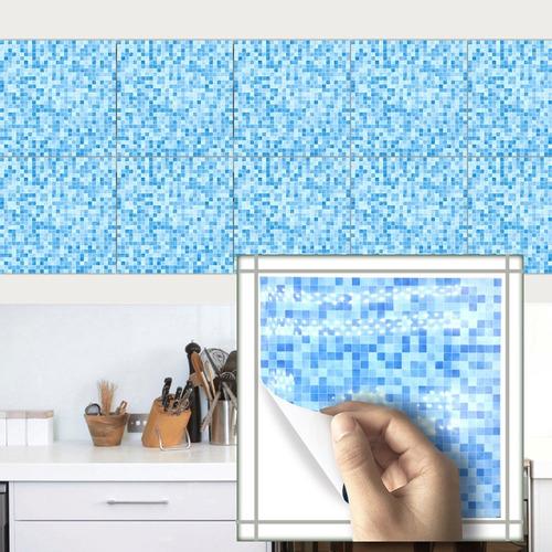 azulejos adhesivos cocina baño mosaicos azules