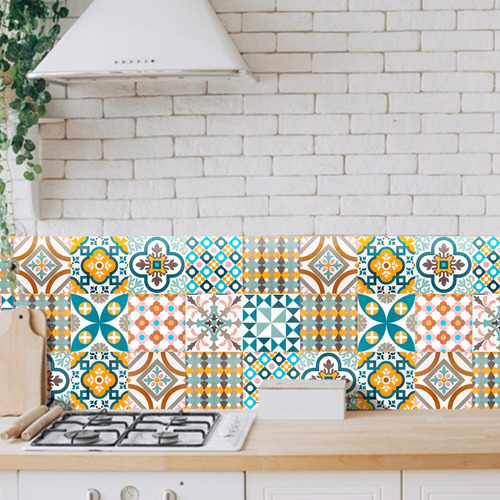 azulejos adhesivos decorativos vinil laminado alto desempeño protección brillante 10 modelos diferentes c/10pz 20x20cm