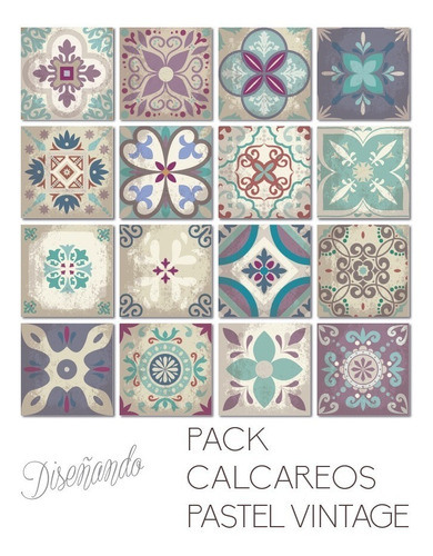 azulejos autoadhesivos en vinilo calcáreos pastel vintage