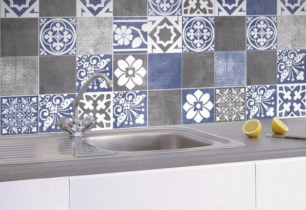 Azulejos autoadhesivos mandala cocina ba o pack 18unid for Azulejos pvc autoadhesivos